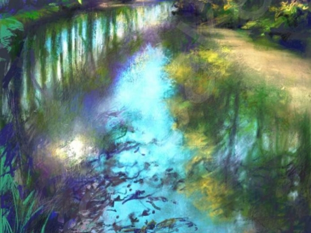 Breaking Through, Canal du Midi - iPad Pro painting on canvas - 88 x 60 cm - SOLD