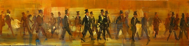 Top Hat Progression - oil on board - 15 x 60 cm - SOLD