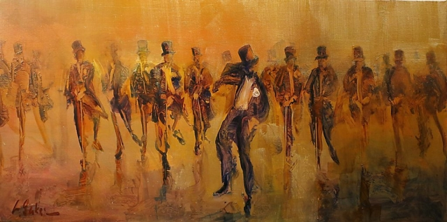 Brushing with Tap - oil on canvas - 51 x 102 cm - Private collection