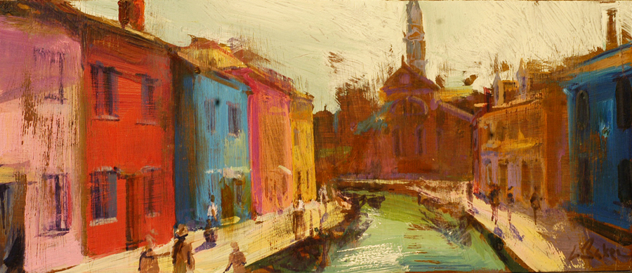 Breezy Afternoon, Burano - oil on board - 20 x 50 cm - SOLD