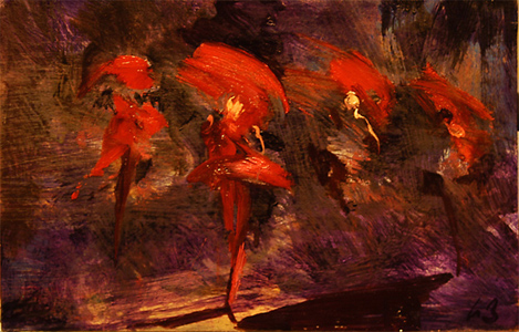 Red Nymphs (sketch) - oil on board - 25 x 40 cm - SOLD