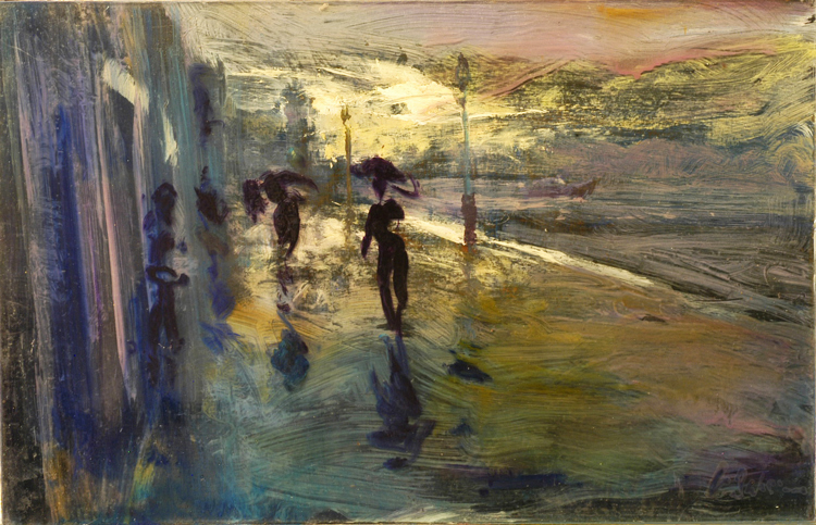 After a Cloudburst, Giudecca - oil on perspex and board - 29 x 45 cm - POA
