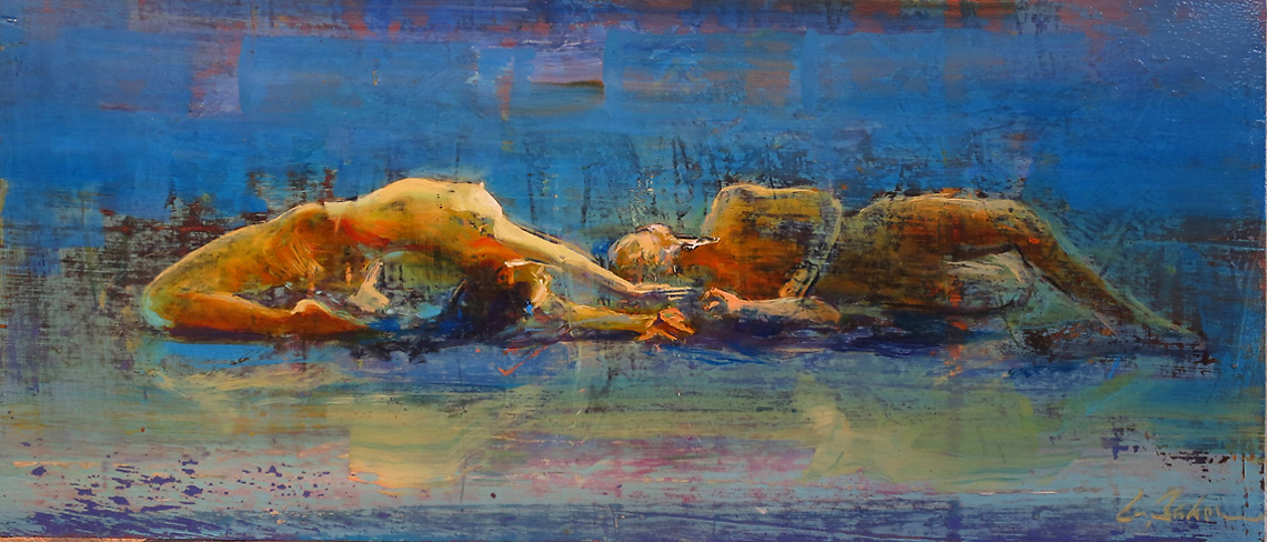 Fusion 3 - oil on board (under glass) - 38 x 90 cm - SOLD
