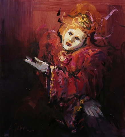 Pantelone on Stage - oil on board - 45 x 40 cm - Private Collection