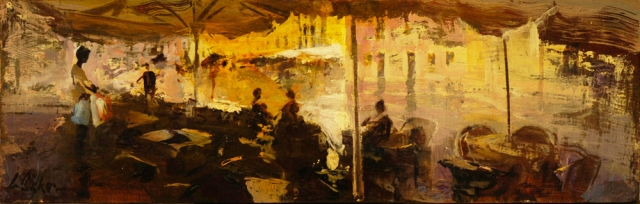 Bag Seller waiting out the Rain - oil on board - 15 x 45 cm - SOLD