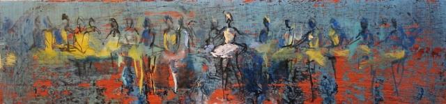 Frieze (sketch) - oil on board - 21 x 90 cm