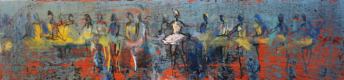 Frieze (sketch) - oil on board - 21 x 90 cm