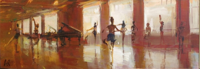 The Class (sketch) - oil on board - 18 x 50 cm - SOLD