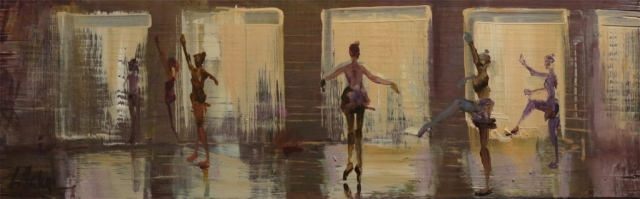 A Class at the Maj - oil on board - 14 x 45 cm - SOLD
