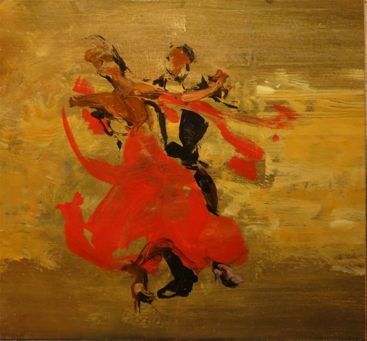 A Brush with Dance - oil on board (under glass) - 45 x 48 cm