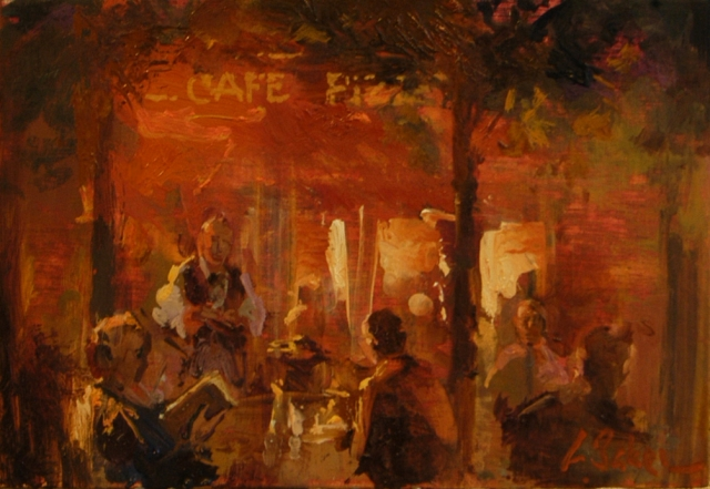 Alfresco - oil on board - 20 x 30 cm - SOLD