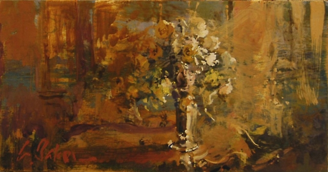 Bouquet on a Tabletop (sketch) - oil on board - 16 x 30 cm - SOLD