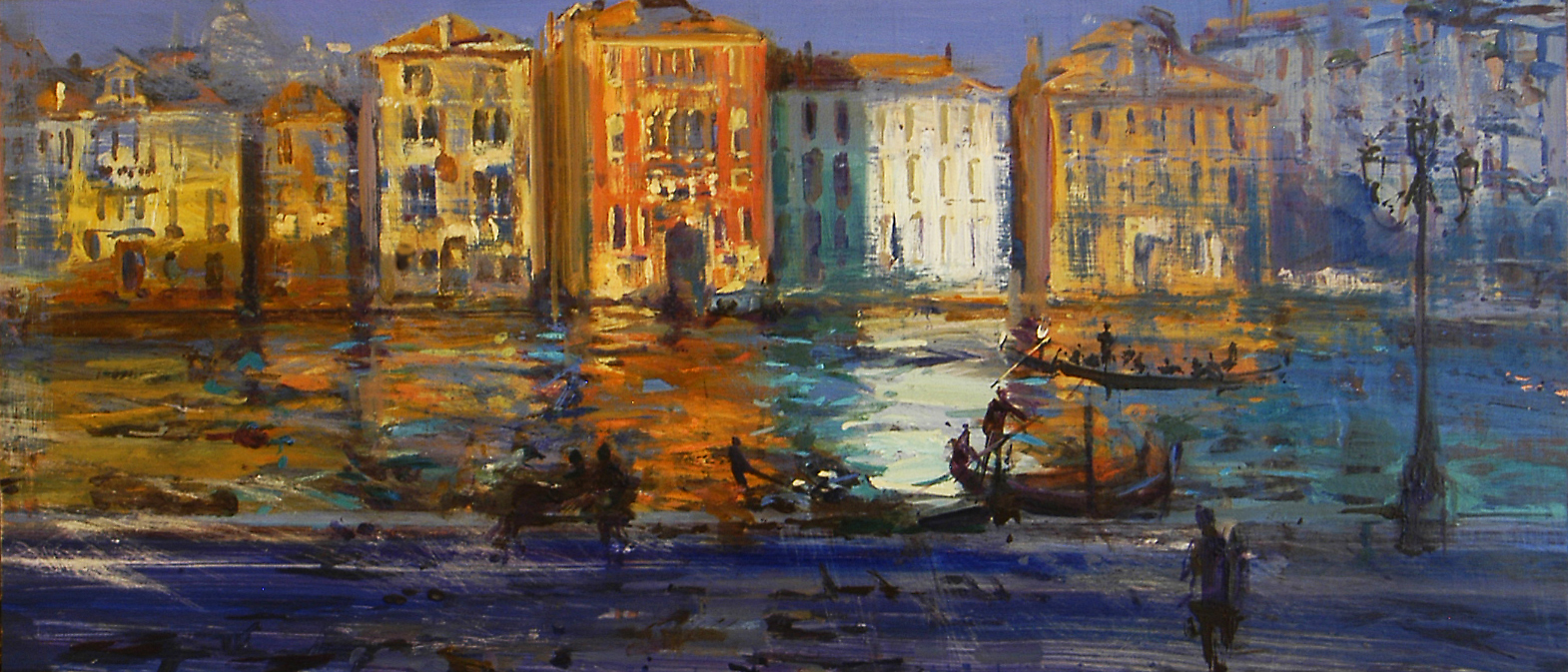 Bright Canal Grande - oil on board - 30 x 68 cm - SOLD