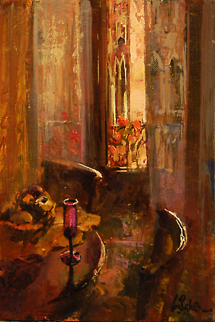 Room 18 San Moise Hotel - oil on board - 30 x 20 cm - SOLD