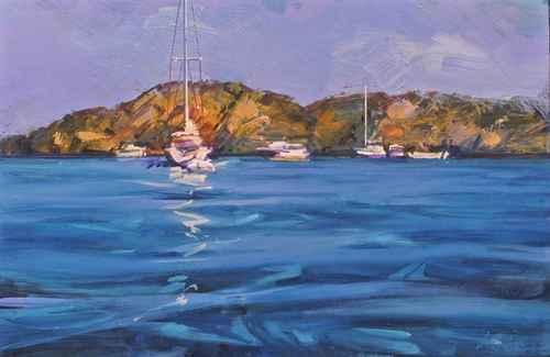 Deepwater, Pittwater - oil on board - 30 x 47 cm