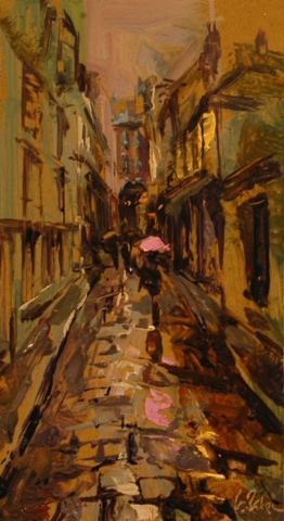 Following the Pink Umbrella - oil on board 28 x 15 cm - SOLD