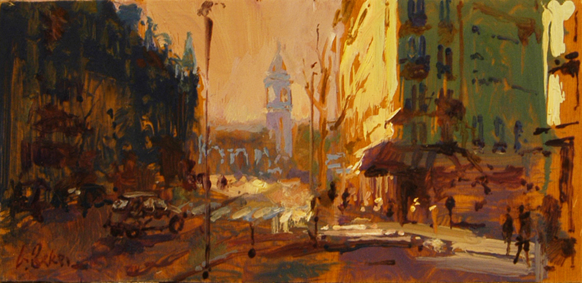 Gare du Lyon (sketch) - oil on board - 16 x 33 cm - SOLD