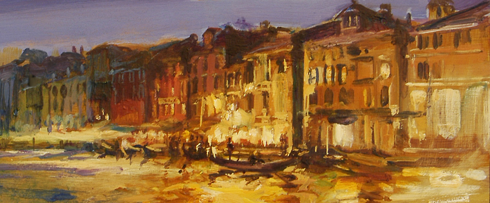 Gondolieri Rialto (sketch) - oil on board - 20 x 48 cm - SOLD