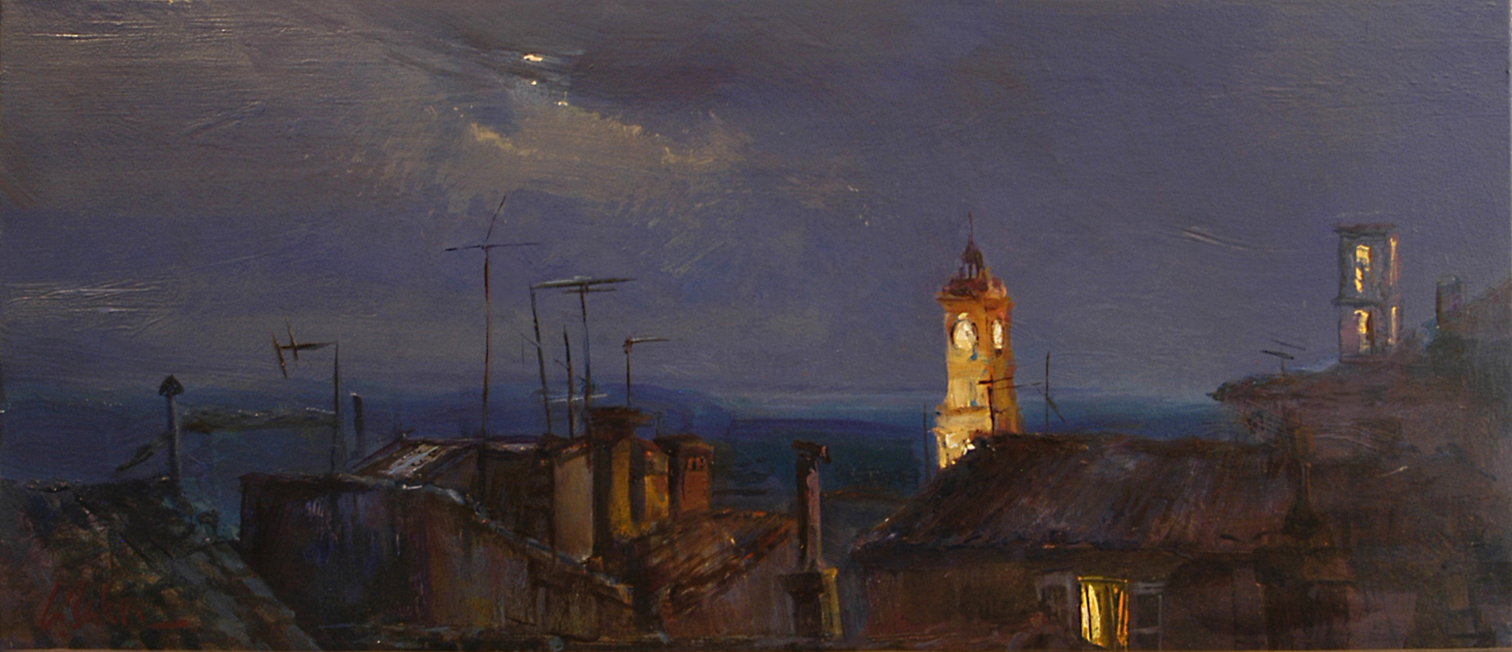 Light Sources, Grasse by Night - oil on canvas - 33 x 80 cm - SOLD