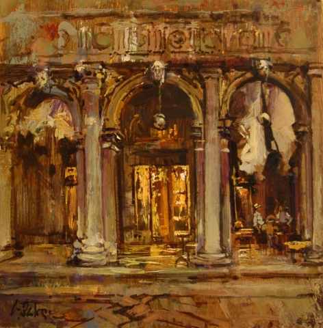 Morning Coffee at Cafe Florian - oil on board - 30.5 cm sq - SOLD