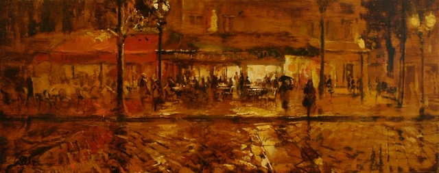 Place du Michel - oil on board - 31 x 81 cm - SOLD