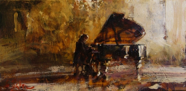 Private Recital - oil on board - 19 x 39 cm - SOLD