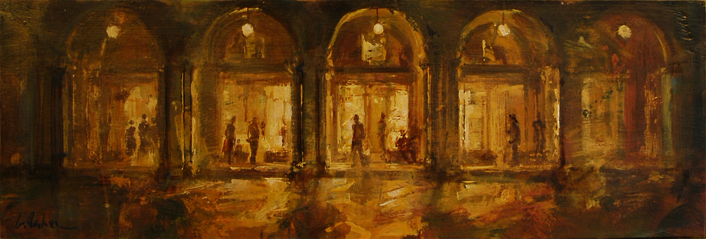 San Marco Colonnades by Night - oil on board - 30 x 90 cm - SOLD