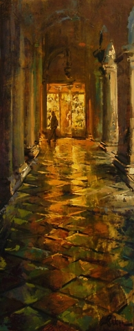 The Glitter Shop - oil on board - 60 x 24 cm - SOLD