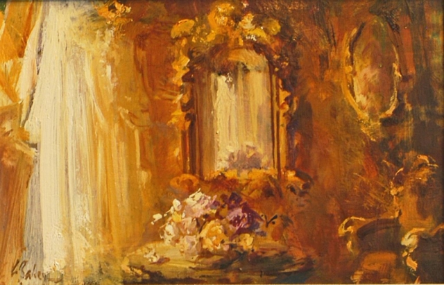 Venetian Interior 2 - oil on board - 25 x 40 cm - SOLD
