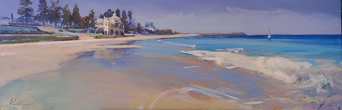 Walking on a Mirror, Cottesloe - oil on canvas - 45 x 145 cm - SOLD