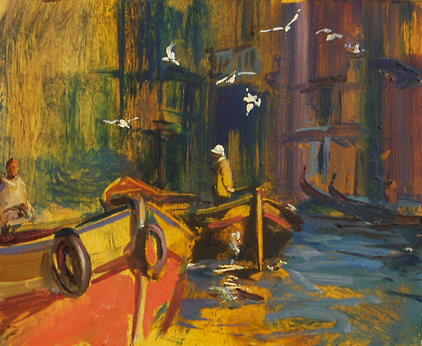 Workers Boat, Rialto Markets - oil on board - 25 x 31 cm - SOLD