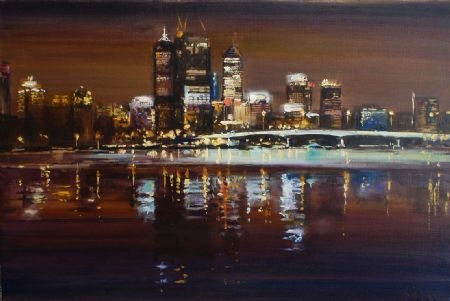 7pm Paths Across the Water - oil on canvas - 61 x 92 cm - SOLD