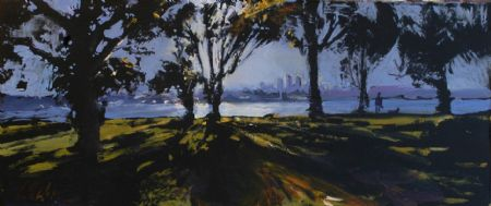 Profiles in the Morning - oil on board - 20 x 48 cm - SOLD