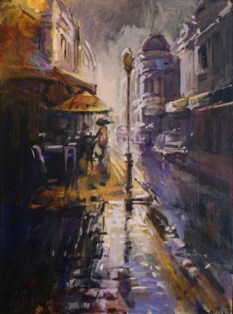 Bright Cobbles on King Street - oil on board - 51 x 37 cm - SOLD
