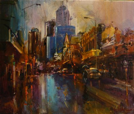 On a Dark Street, Northbridge - oil on canvas - 61 x 51 cm - SOLD