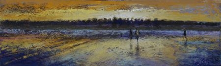Pilgrims at Low Tide - pastel on board - 18 x 60 cm - SOLD