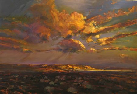 Gilded Horizon, Chichester - oil on board - 122 x 180 cm - SOLD