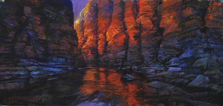 Inside the Lantern, Kalamina Gorge - pastel on board - 47 x 100 cm - SOLD