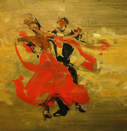 A Brush With Dance - oil on board - 46 x 48cm - SOLD