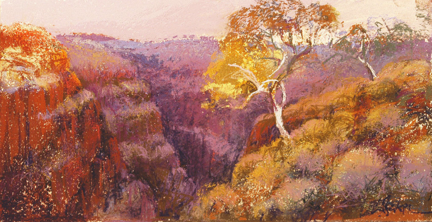 Above Weano Gorge. Karijini - pastel on board - 20 x 40cm - SOLD
