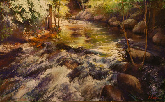 Cascades Montolieu - pastel on museum board - 50 x 80 cm - SOLD