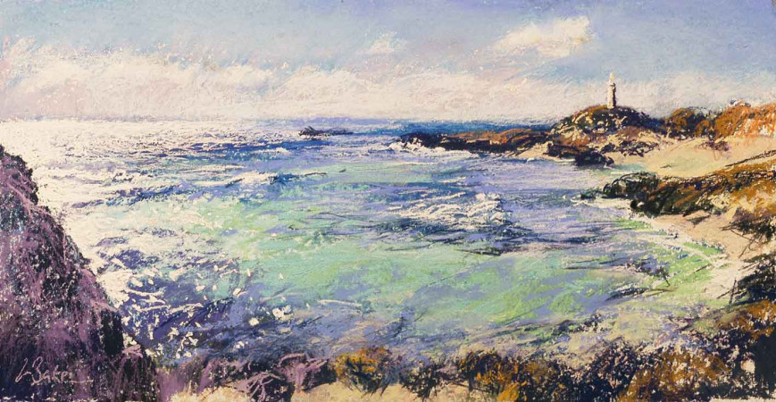 Diamond Water, Rottnest (sketch) - pastel on board - 20 x 40cm - SOLD