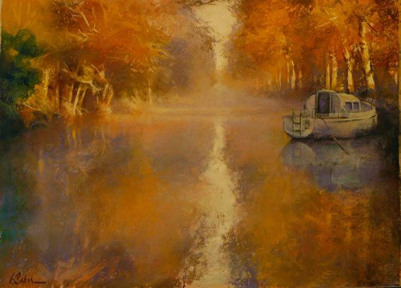 Doigts de Lumiere, Canal du Midi - pastel on museum board - 55 x 75 cm - SOLD