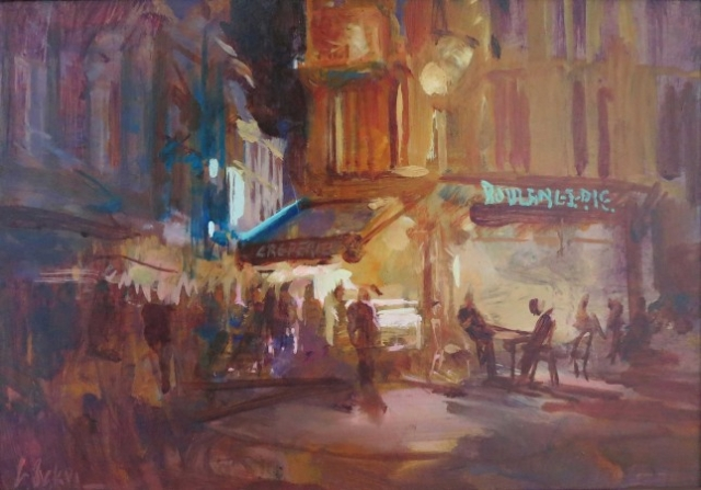 Line of Tourists, Latin Quarter Paris - oil on board - 26 x 38cm - SOLD