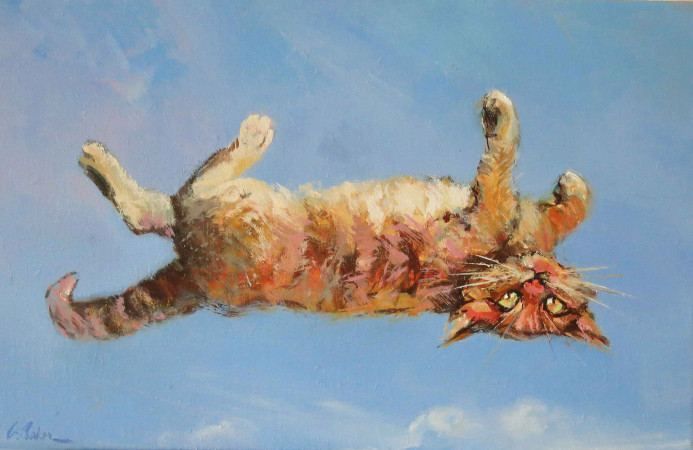 More Proof My Cat Can Fly - oil on linen - 45 x 70cm - SOLD