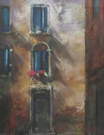 Senora's Window - pastel on board - 28 x 20cm - SOLD