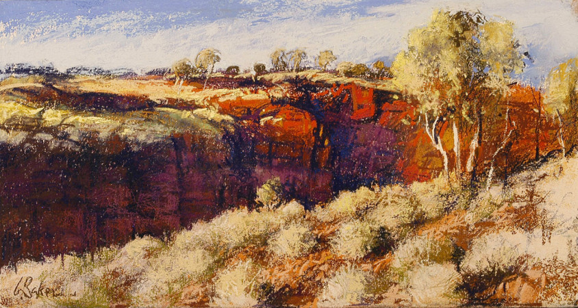 The Ridge, Karijini - pastel on board - 20 x 40cm - SOLD