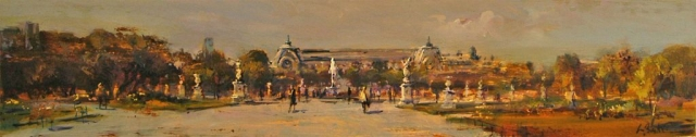 A Walk in the Tuilleries - oil on board - 15 x 81cm - SOLD