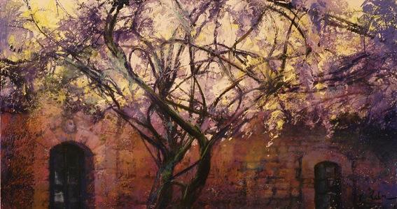 Sous le Grand Vine, Cordes sur Ciel - pastel on museum board - 32 x 62 cm - SOLD