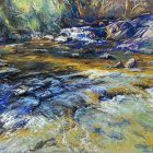 Dappled Cascade - pastel on board - 38 x 54 cm